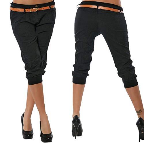 ORANDESIGNE Femme Pantalons Courts 3/4 Sarouel Pantalons Short Pantacourt Legging Casual Eté Confortable Chino Short Mode Grande Taille Noir Small