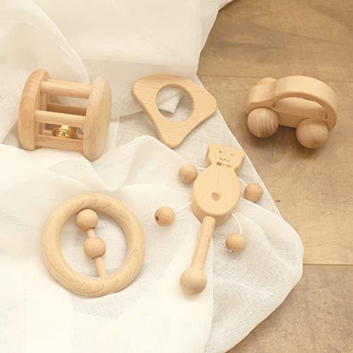 Mamimami Home Baby Spielzeug Buche Holz Teether Rattle 5PC Montessori Spiel Gym Baby Krippe Spielzeug Sensorische Aktivität Teether Rattle - Baby-krippe Eine