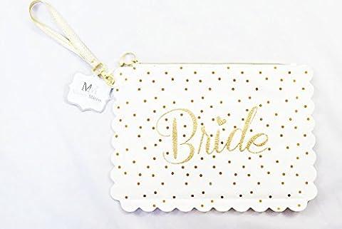 mariée Maquillage de sac Blanc Doré Paillettes de mariage Douche Cadeau accessoire pour être