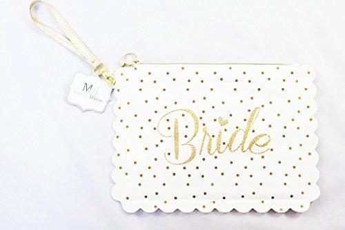 """ufschrift """"Bride"""", für Make-up, weiß, Goldglitzer, Geschenk für Brautparty (Personalisiert Party Ballons)"""