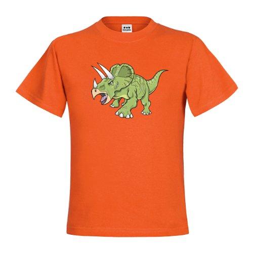 Triceratops Kostüm Orange (dress-puntos Kids Kinder T-Shirt Triceratops Aggressive drpt-kt01025-45 Textil orange / Motiv farbig Gr.)