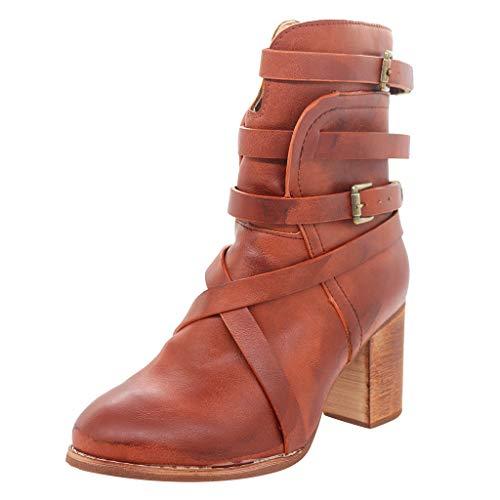 Trisee Herbst Winter Damen Stiefeletten Blockabsatz Stiefel Vintage Roman Ritterstiefel Army Schuhe für Outdoor Camping Wandern Bergsteigen Wüsten Offroad (Kostüm Schwarzen Wüste)