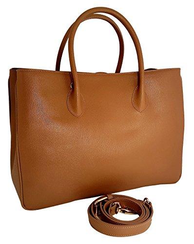 """Winter & Co. Daybag """"L"""" Damen Handtasche Umhänge-tasche Business-tasche groß aus edlem Leder handgefertigt in Italien mit toller Innenaufteilung elegant und funktional (cognac) (Strukturiertem Leder Fein)"""