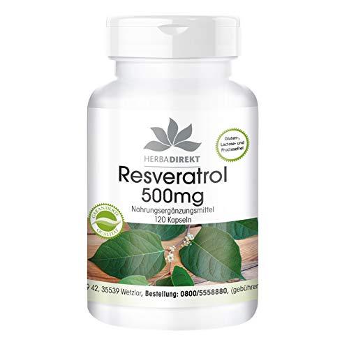Herbadirekt Resveratrol 500mg - hochdosiert - vegan - 120 Kapseln