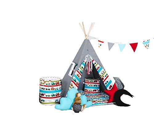 Golden Kids Kinder Spielzelt Teepee Tipi Set für Kinder drinnen draußen Spielzeug Zelt Indianer Indianertipi Tipi mit & ohne Zubehör (mit Zubehör, Auto) (Auto Zelten)