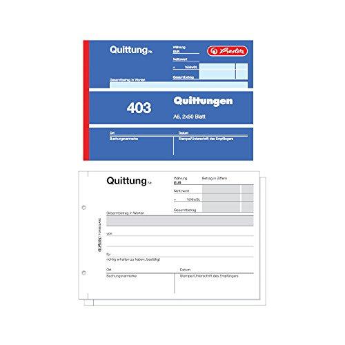 Herlitz 886614 Quittungsblock A6, 2 x 50 Blatt mit Kohlepapier, 10 Stück