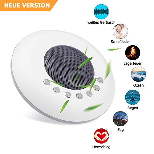 Weiß Geräusch Maschine, E-yiiviil Sound-Maschine zum Schlafen und Entspannung, 20 Natürliche und Beruhigende Klänge, Buntes Nachtlicht, Tragbares Schlaftherapie Gerät für Baby, Zuhause, Büro, Spa
