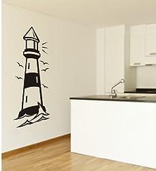 Wandtattoo, Leuchtturm, Meer, Dekoration, XXL - Motiv, Größe ca. 1000 mm x 450 mm, verschiedene Farben zur Auswahl (M052 Azurblau)