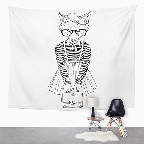 Eriesy Tapestry Wall Hanging Line of Foxy Girl Dressed Up in French Retro Style Animal Hipster Head Woman Wall Hanging for Bedroom Living Room Dorm 130x150cm - Foxy Hipster