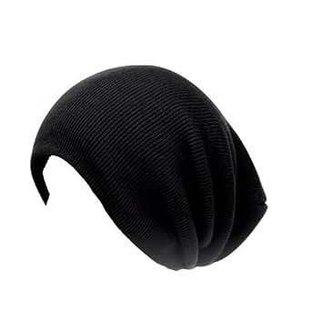 Accessoryo - Noir Nervuré Surdimensionné Slouch Bonnet Chapeau Noir - Une Taille Plus