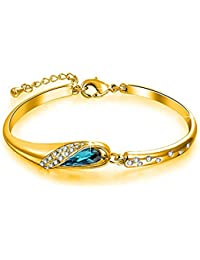 Om Jewells Gold Plated Stylish Bangle Bracelet Jewelled With Blue And White Crystal Elements For Girls And Women...
