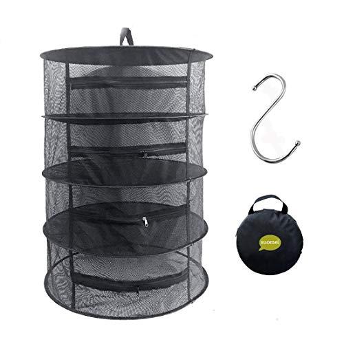 Trocknen Von Kräutern (Hängenetz mit 4 Lagen zum Trocknen von Kräutern, mit Reißverschlüssen, S-Haken und Tasche zum Aufbewahren, schwarz)