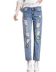 Mena UK- Mujeres agujero insignia de la tendencia de nueve puntos lavados con agua pantalones casuales hacer los pantalones de los viejos pantalones vaqueros ( Color : Azul claro , Tamaño : 26 )
