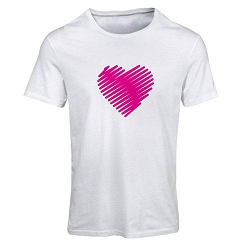 Maglietta donna cuore elegante, io ti amo regali san valentino abiti (small bianco magenta)