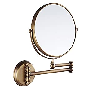 Eridanus, Wandspiegel, Kosmetikspiegel für Badezimmer, Ausziehbar, Wandmontage, Antik Design, Bronzefarbe