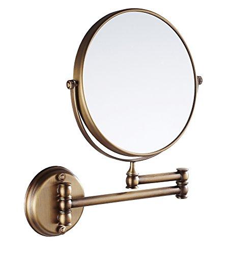 Eridanus, Kosmetikspiegel Wandmontage, Drehbar Badspiegel für Make-Up, Rasieren, Bronzefarben - Messing Wand Spiegel