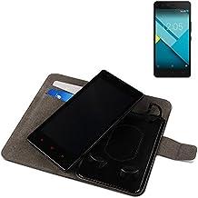 Funda para el BQ Aquaris M5, Walletcase hecho de cuero sintético en negro, monocromático y simple. Bolsillo para el teléfono móvil con ranuras para tarjetas de crédito y la función del soporte. BookStyle bisagras de la manga para los teléfonos inteligentes. A prueba de golpes del caso, la piel suave cubierta del teléfono móvil funda protectora. Protección integral robusta premium Case Flipstyle | envío de Alemania en un día laborable