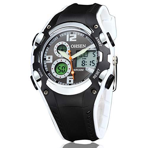 Wuwupoo Smart-Uhr, Sportuhr, Strap gut ohsen rundes zifferblatt Kalender led Display Zeiger kleines zifferblatt Design Mode männer quarzuhr mit silikonband (grau) (Farbe : Weiß)