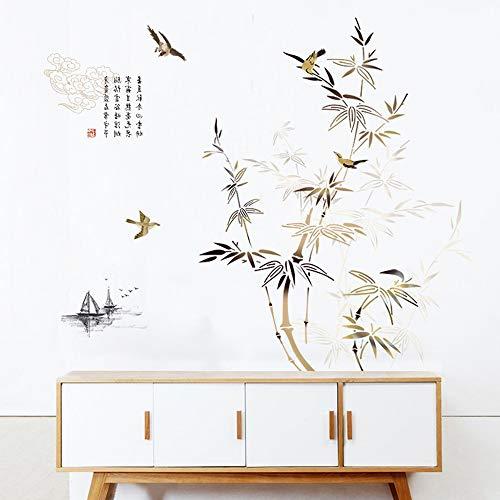 GLYOUNG Wandtattoo Wandaufkleber - Chinesischen Stil Tinte Bambus Aufkleber - Schlafzimmer Wohnzimmer Flur Dekoration...