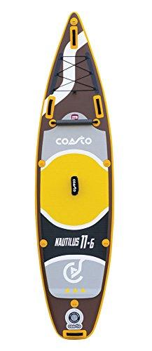 Coasto PB-CNAU116 Stand up Paddle Aufblasbar Thermo-Zwillingshaut Nautilus 11'6, Braun gelb Grau