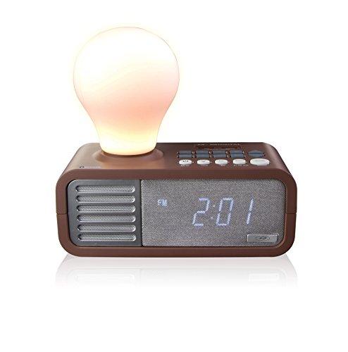 SDigital Q-27 LightYear Lichtwecker (UKW-Radio, USV, Bluetooth, AUX-In, USB-Ladefunktion, Tageslichteffekt/Naturgeräuschen) braun