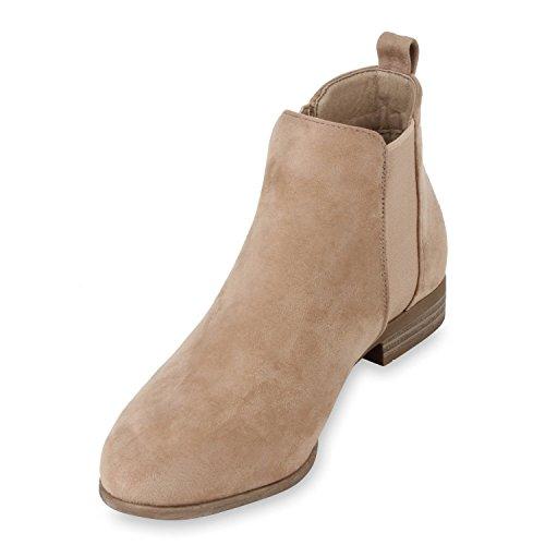 Damen Stiefeletten Chelsea Boots London Style Schuhe Gr. 36-42 Creme