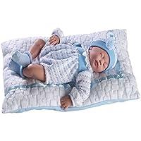 GUCA - Muñeco Cris Dormido Traje Azul y cojín Blanco 38 cm balbucea o RIE si