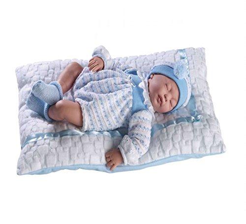 GUCA - Muñeco Cris Dormido Traje Azul y cojín Blanco 38 cm balbucea o RIE si aprietas la Barriga