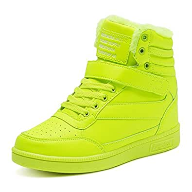 BAINASIQI Sneaker Donna Zeppa Interna Alte Scarpe da Ginnastica Casuale Cuneo Piattaforma Catena Stivaletti Traspirante Scarpe Sportive (EU 38, Verde-02)