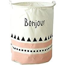 QHGstore niños del bebé del juguete de ropa de lavandería bolsa de almacenamiento cesta con asas Misceláneas del barril BOHJOUR