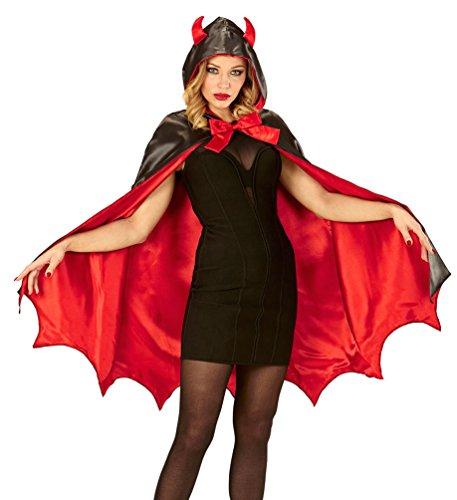Damen Kostüm Schwarzer Teufel (Karneval Klamotten Sexy Teufelin Umhang Dame Halloween Teufel Damenkostüm mit Kapuze mit Teufelshörner)
