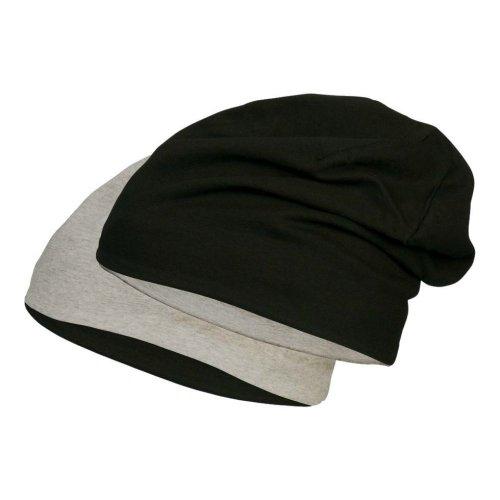 Jersey Mütze aus hautfreundlicher Baumwolle für Jungen Mädchen | Kopfumfang 53-57cm | dünner Beanie mit 5% Elasthan für perfekten Sitz Schwarz/Hellgrau