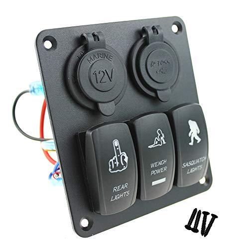 3 Sätze von 12V / 24V Wippschalter-Schaltkasten - Blaue LED-Hintergrundbeleuchtung - Boot und Boot Caravan RV Yacht - Dual USB Total 3.1A - Blaue LED-Steckdose