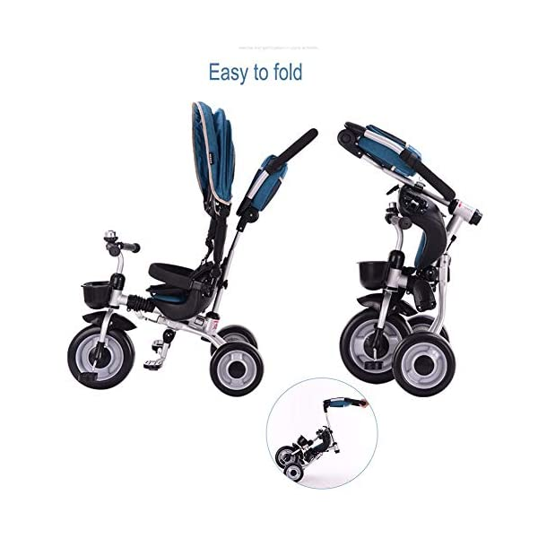 GSDZSY - Foldable Children Tricycle 4 IN 1 With Comfortable Seat With Fence And Seat Belt, Adjustable Putter And Awning, 1-6 Years Old GSDZSY ❀ MATERIAL : High carbon steel + ABS + rubber wheel, suitable for children from 1 month to 6 years old, maximum load 30 kg ❀ FEATURES : The push rod can be adjusted in height , the baby can sit or recline; the adjustable umbrella can be used for different weather conditions ❀ PERFORMANCE : high carbon steel frame, strong and strong bearing capacity; non-inflatable rubber wheel, suitable for all kinds of road conditions, good shock absorption, seat with breathable fabric, baby ride more comfortable 3