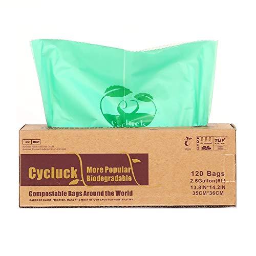 Cycluck 120 Bolsas 6L Bolsa de Basura ecológica 100% Biodegradable y Compostable, con EN 13432 Hecho...