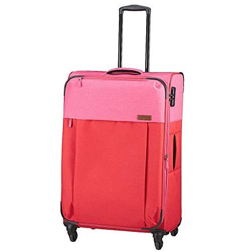Travelite Leichtes lässiges  Surferlook Trolley Koffer 77 cm, 92 L, Rot/Pink