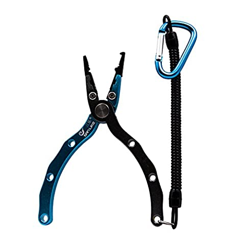 SANLIKE Factory Outlet Ultra Lightweight Fishing Fish Pliers Knives Grippers Saltwater Fishing Line Braid Cutter Tackle 60g Aluminum Saltwater Fishing Pliers Multifunctional Fishing Line Pliers Cutters Scissors clippers for Remove Hooks with Lanyard and Sheath Kits Gifts For Fishmen (blue)