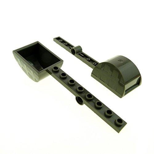 Bausteine gebraucht 2 x Lego System Katapult alt-dunkel grau 1 x 8 Stein Schleuder Schaufel Castle Burg Ritter Schloß 6096 6091 30275