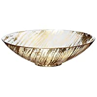 CRISTALICA Glass Bowl Fruit Bowl Dinner Bowl Glass Gold/Transparent 27 cm
