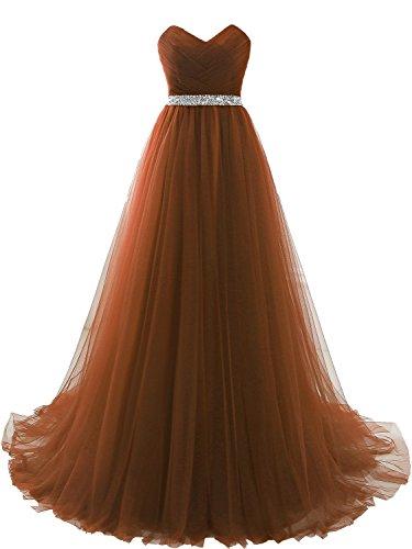 Clearbridal Damen Tüll Bandeau Lang Abendkleid Ballkleid Abschlusskleid Prinzessin SQS16422 Braun...
