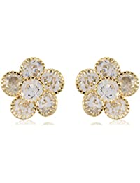 FirstBlush Non Pierced Gold Alloy Stud / Clip On Earrings For Women For Non Piercing