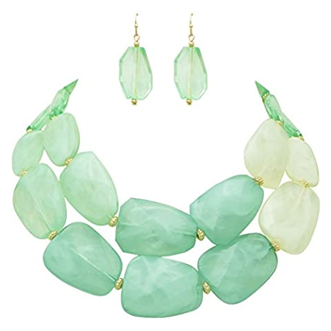 Rosemarie Collections Women's Ombre Polished Resin Statement Necklace Earring Set (Light Mint