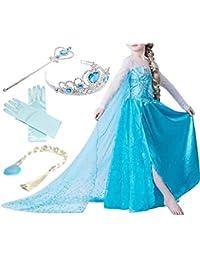 Yigoo ELSA Kleid Eiskönigin Prinzessin Kostüm Kinder Glanz Kleid Mädchen Weihnachten Verkleidung Karneval Party Halloween Fest