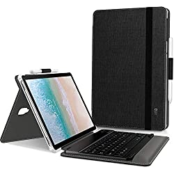Infiland Clavier Coque Compatible avec Galaxy Tab S4 10.5, [AZERTY] Détachable Clavier avec Haute Qualité Housse Étui pour Samsung Galaxy Tab S4 SM-T830/SM-T835 10.5 2018, Noir