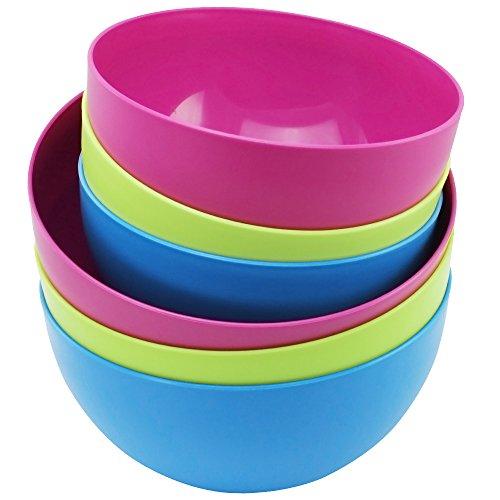 Com-Four Lot de saladiers et couleurs chatoyantes, 2,4 L et 3,8 l 6 Stück - Mix