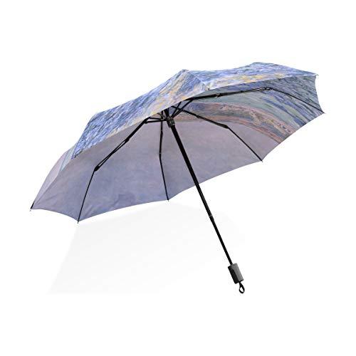 ISAOA Automatischer Reise-Regenschirm, kompakt, faltbar, Sonnenschirm im Meer, Winddicht,...