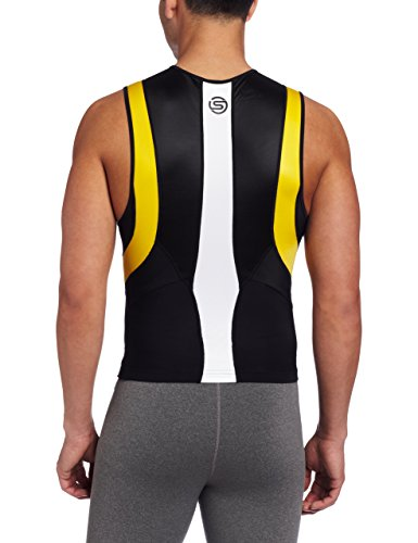 SKINS TRI 400 Mens Top Sleeveless w Zip Black/yellow