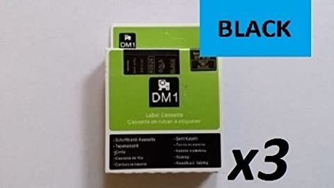 3X COMPATIBLE DYMO D1 SERIES STANDARD LABELLING TAPES. 12mm X 7m - BLACK ON BLUE 45016