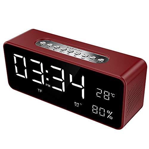 qiyanPortable Altavoz con Bluetooth Reloj de Alarma Estéreo Estéreo Portátil Subwoofer Estéreo...