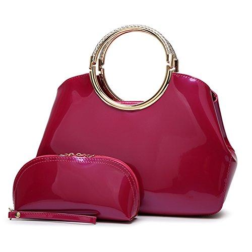 Syknb Mode - Handtasche Tasche Handtasche Trend Bright Braut Styling - Paket. Rose red